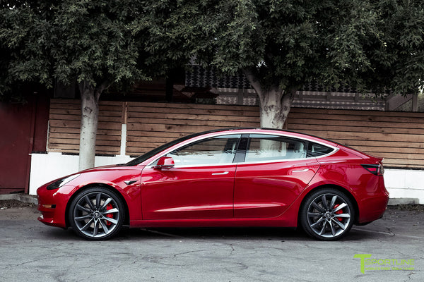 Red Multi-Coat Tesla Model 3 Performance P3D+ with Performance Upgrade Package Option and 20 Inch TST Turbine Style Wheels by T Sportline 3