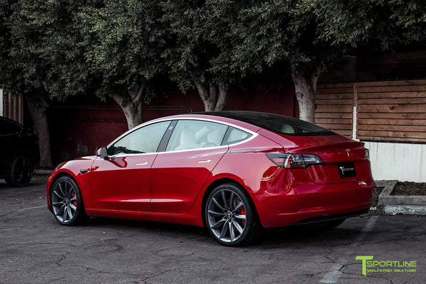 Red Multi-Coat Tesla Model 3 Performance P3D+ with Performance Upgrade Package Option and 20 Inch TST Turbine Style Wheels by T Sportline 2