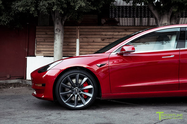 Red Multi-Coat Tesla Model 3 Performance P3D+ with Performance Upgrade Package Option and 20 Inch TST Turbine Style Wheels by T Sportline 1
