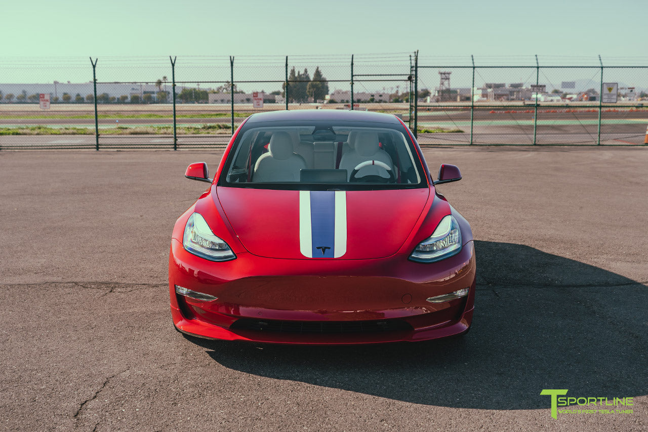 Red Multi-Coat Tesla Model 3 with Carbon Fiber Sport Package in Red Multi-Coat, Matte Black 20 inch TSS Flow Forged Wheels, Premium White Steering Wheel, and Speciale Racing Stripe by T Sportline 8