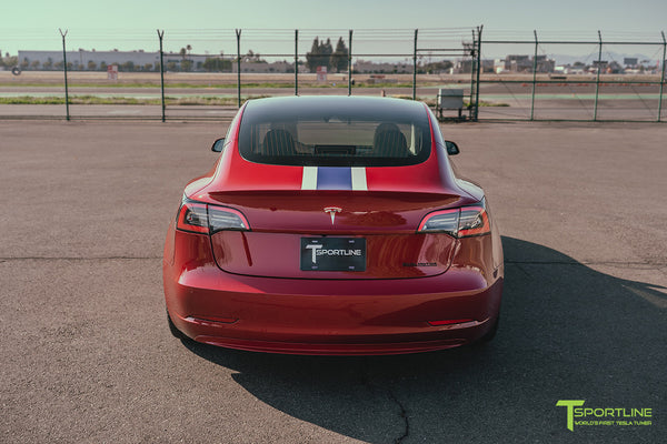Red Multi-Coat Tesla Model 3 with Carbon Fiber Sport Package in Red Multi-Coat, Matte Black 20 inch TSS Flow Forged Wheels, Premium White Steering Wheel, and Speciale Racing Stripe by T Sportline 11