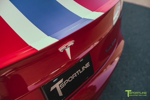 Red Multi-Coat Tesla Model 3 with Carbon Fiber Sport Package in Red Multi-Coat, Matte Black 20 inch TSS Flow Forged Wheels, Premium White Steering Wheel, and Speciale Racing Stripe by T Sportline 12