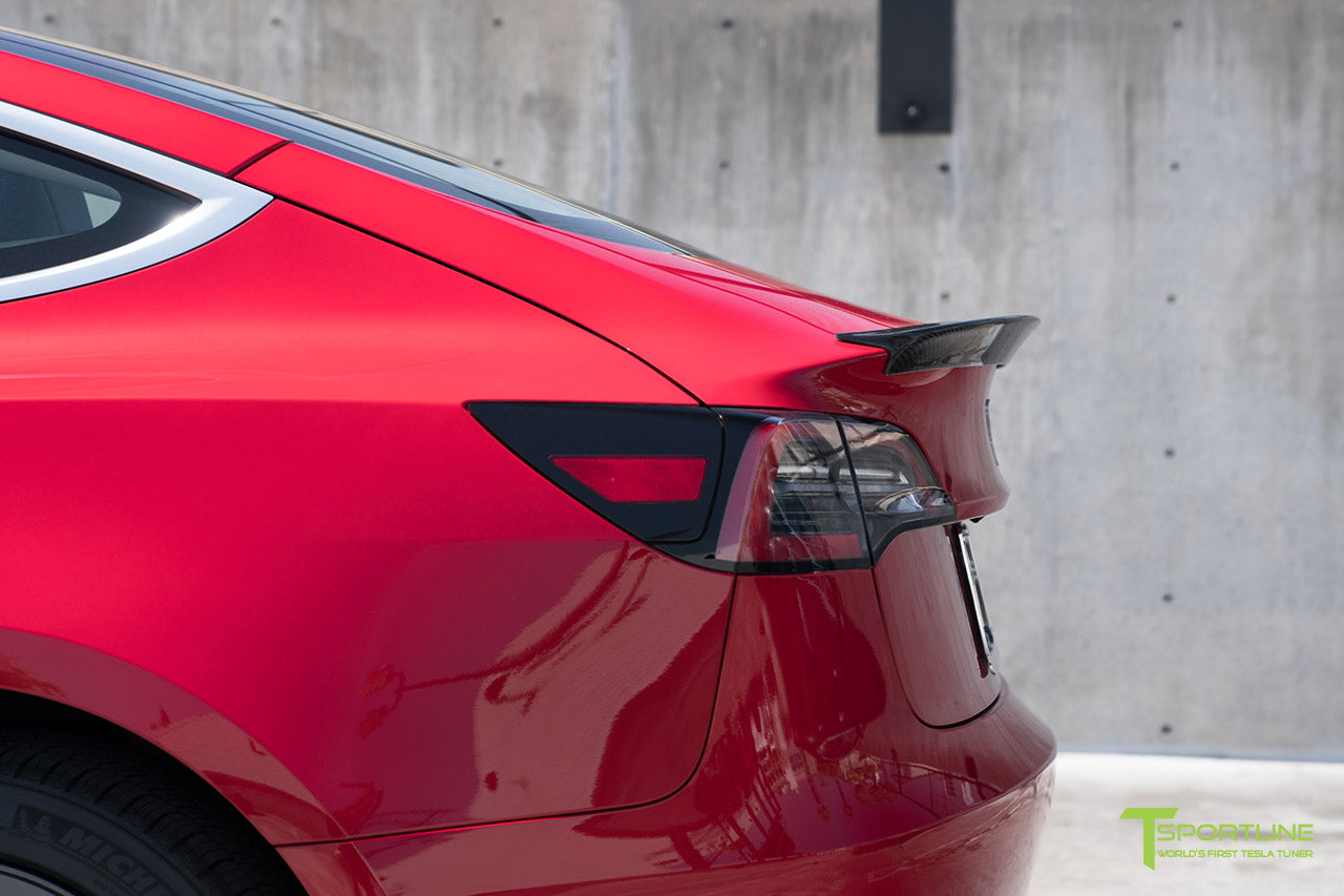 Red Multi-Coat Tesla Model 3 with Gloss Carbon Fiber Trunk Wing Spoiler by T Sportline