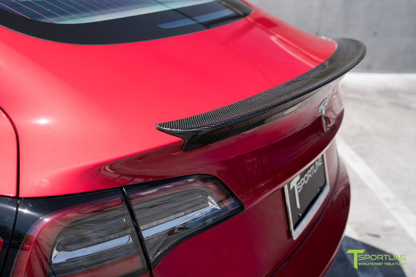 Red Multi-Coat Tesla Model 3 with Gloss Carbon Fiber Trunk Wing Spoiler by T Sportline 2