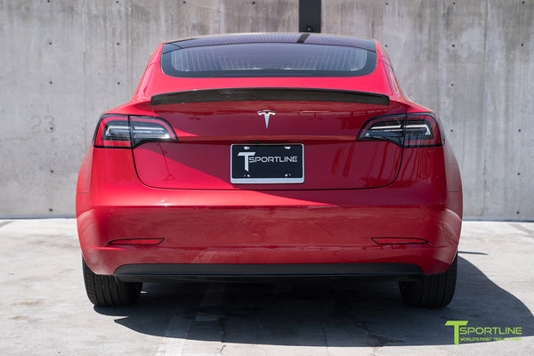 Red Multi-Coat Tesla Model 3 with Gloss Carbon Fiber Trunk Wing Spoiler by T Sportline 1
