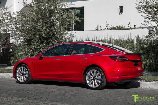 Red Multi-Coat Tesla Model 3 with Matte Carbon Fiber Trunk Wing Spoiler by T Sportline 5
