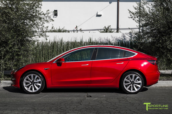 Red Multi-Coat Tesla Model 3 with Matte Carbon Fiber Trunk Wing Spoiler by T Sportline 4