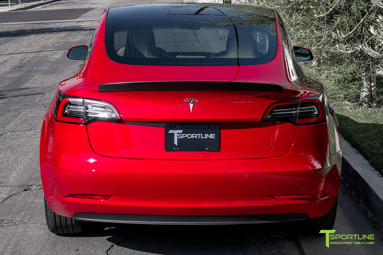 Red Multi-Coat Tesla Model 3 with Matte Carbon Fiber Trunk Wing Spoiler by T Sportline 3