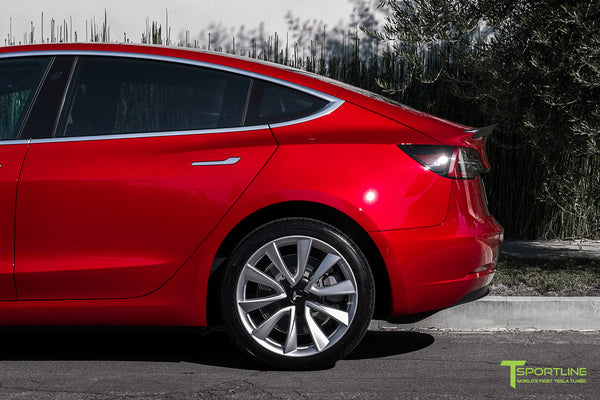 Red Multi-Coat Tesla Model 3 with Matte Carbon Fiber Trunk Wing Spoiler by T Sportline 2