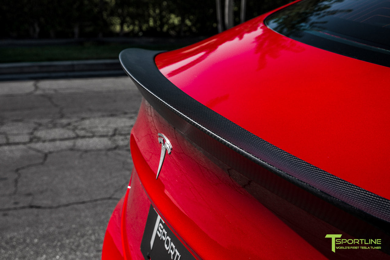 Red Multi-Coat Tesla Model 3 with Matte Carbon Fiber Trunk Wing Spoiler by T Sportline 1