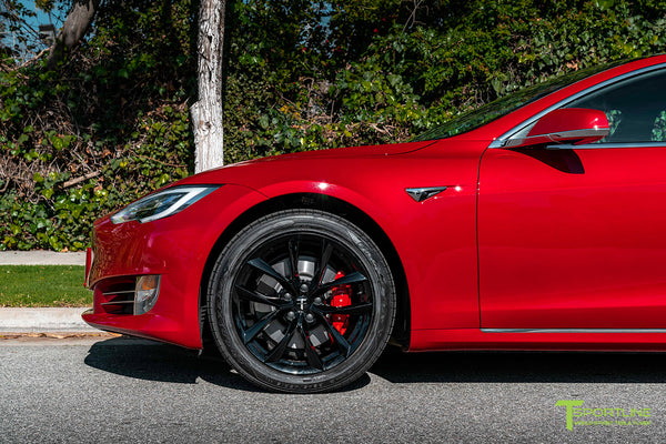 Red Multi-Coat Tesla Model S with 19