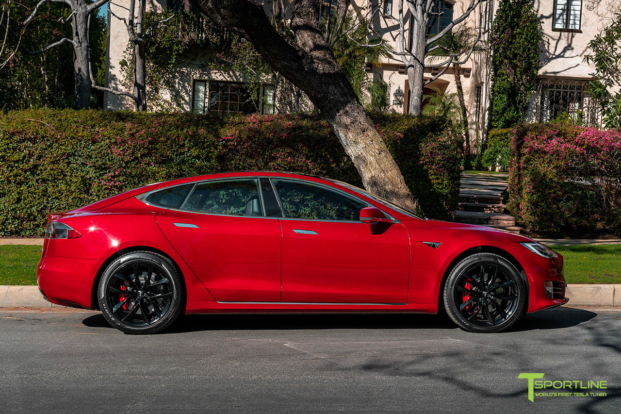 "Red Multi-Coat Tesla Model S with 20"" TSS Flow Forged Wheels in Gloss Black by T Sportline"