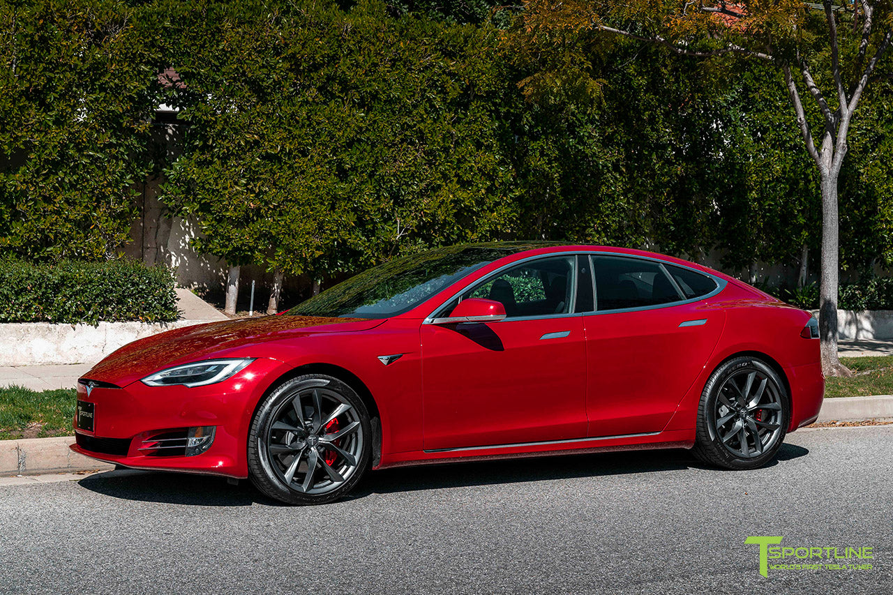 Red Multi-Coat Tesla Model S with 20