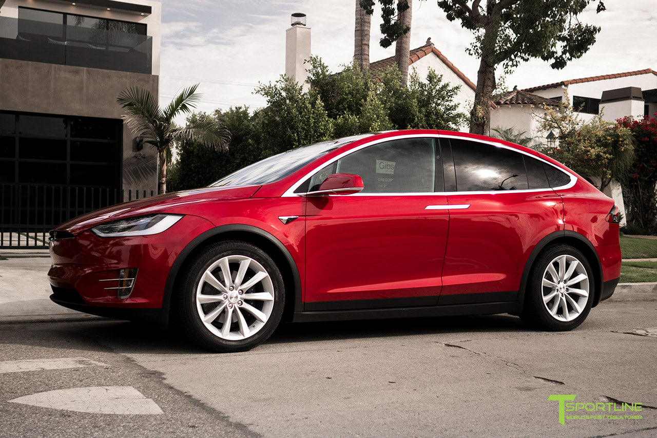 Red Multi-Coat Tesla Model X with Brilliant Silver 20 inch TST Wheels by T Sportline