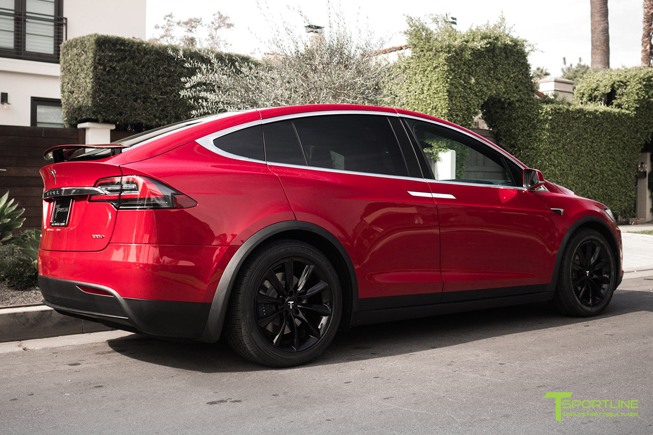 Red Multi-Coat Tesla Model X with Gloss Black 20 inch TST Wheels by T Sportline