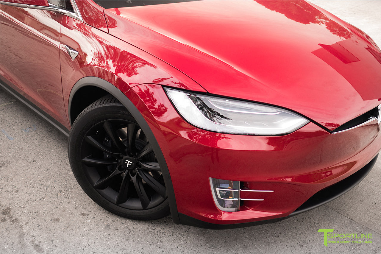 Red Multi-Coat Tesla Model X with Matte Black 20 inch TST Wheels by T Sportline