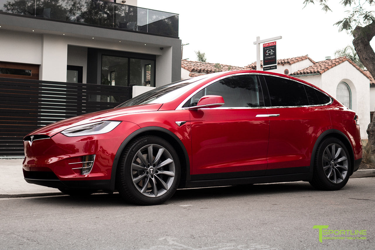 Red Multi-Coat Tesla Model X with Metallic Gray 20 inch TST Wheels by T Sportline