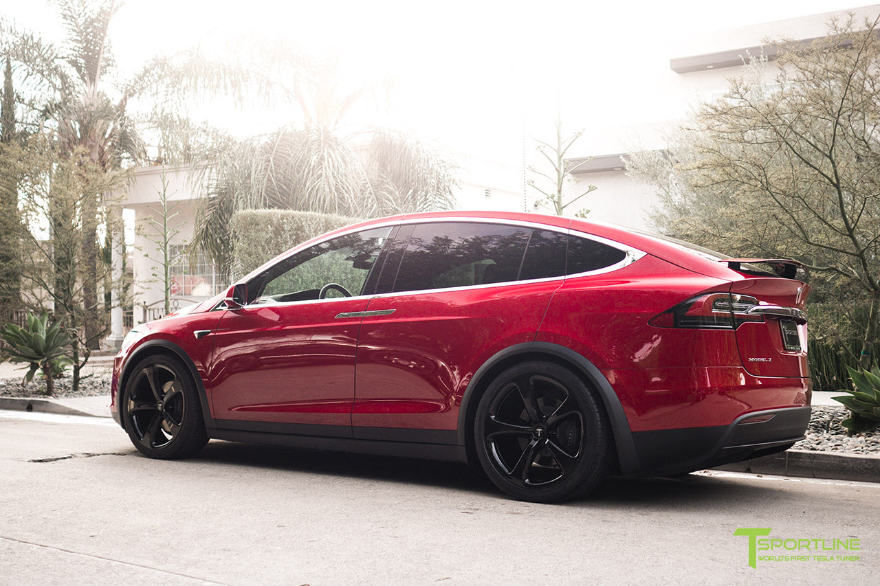Red Multi-Coat Tesla Model X with Gloss Black 22 inch MX5 Forged Wheels by T Sportline