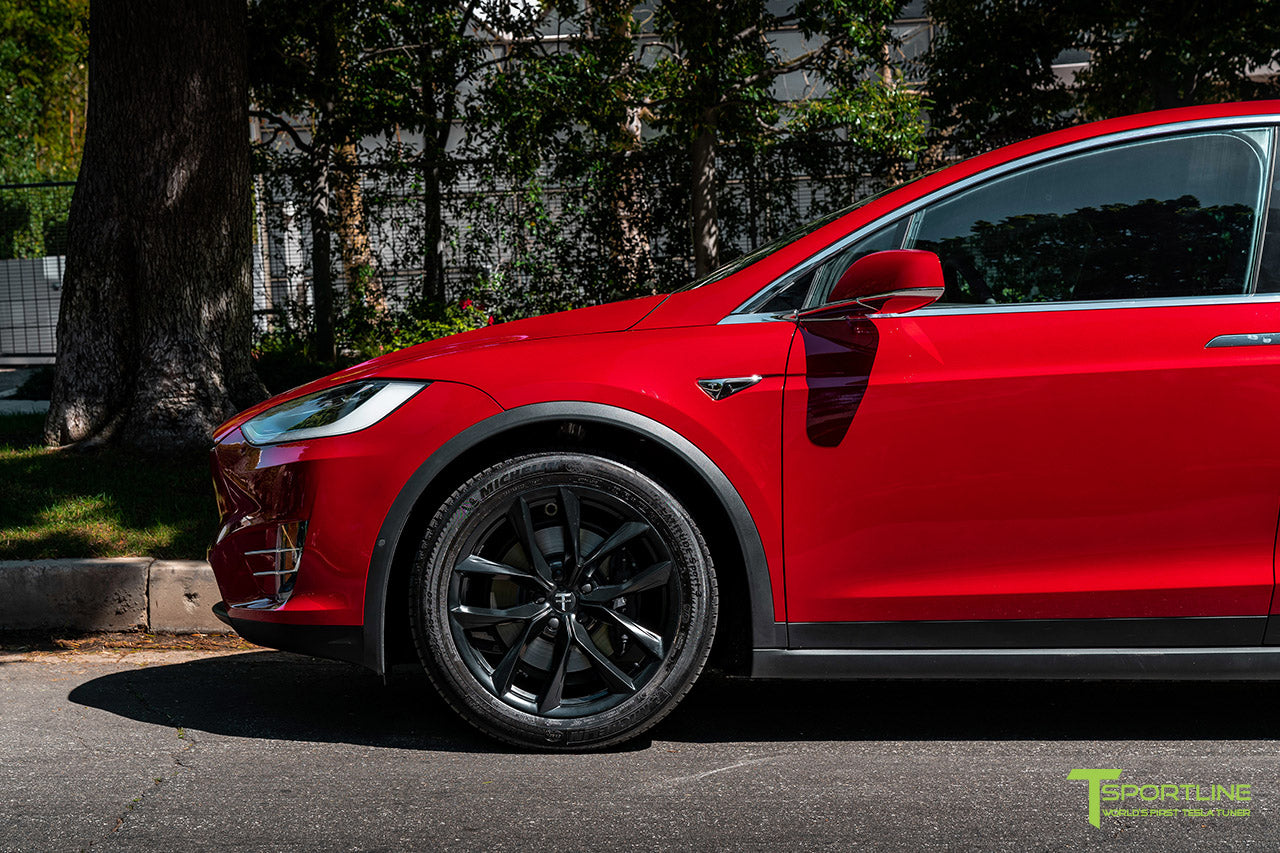 "Red Multi-Coat Tesla Model X with 20"" TSS Flow Forged Wheels in Matte Black by T Sportline"