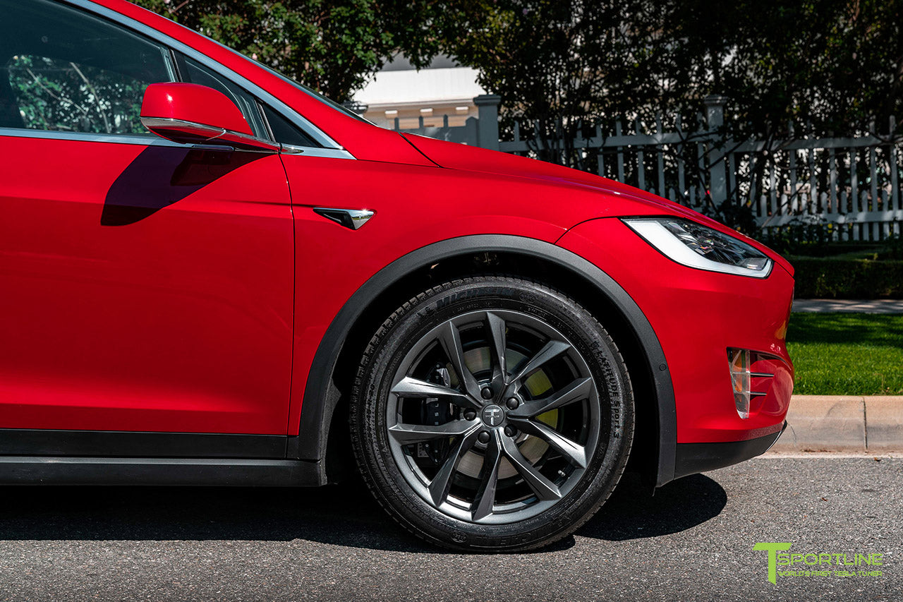 "Red Multi-Coat Tesla Model X with 20"" TSS Flow Forged Wheels in Space Gray by T Sportline"