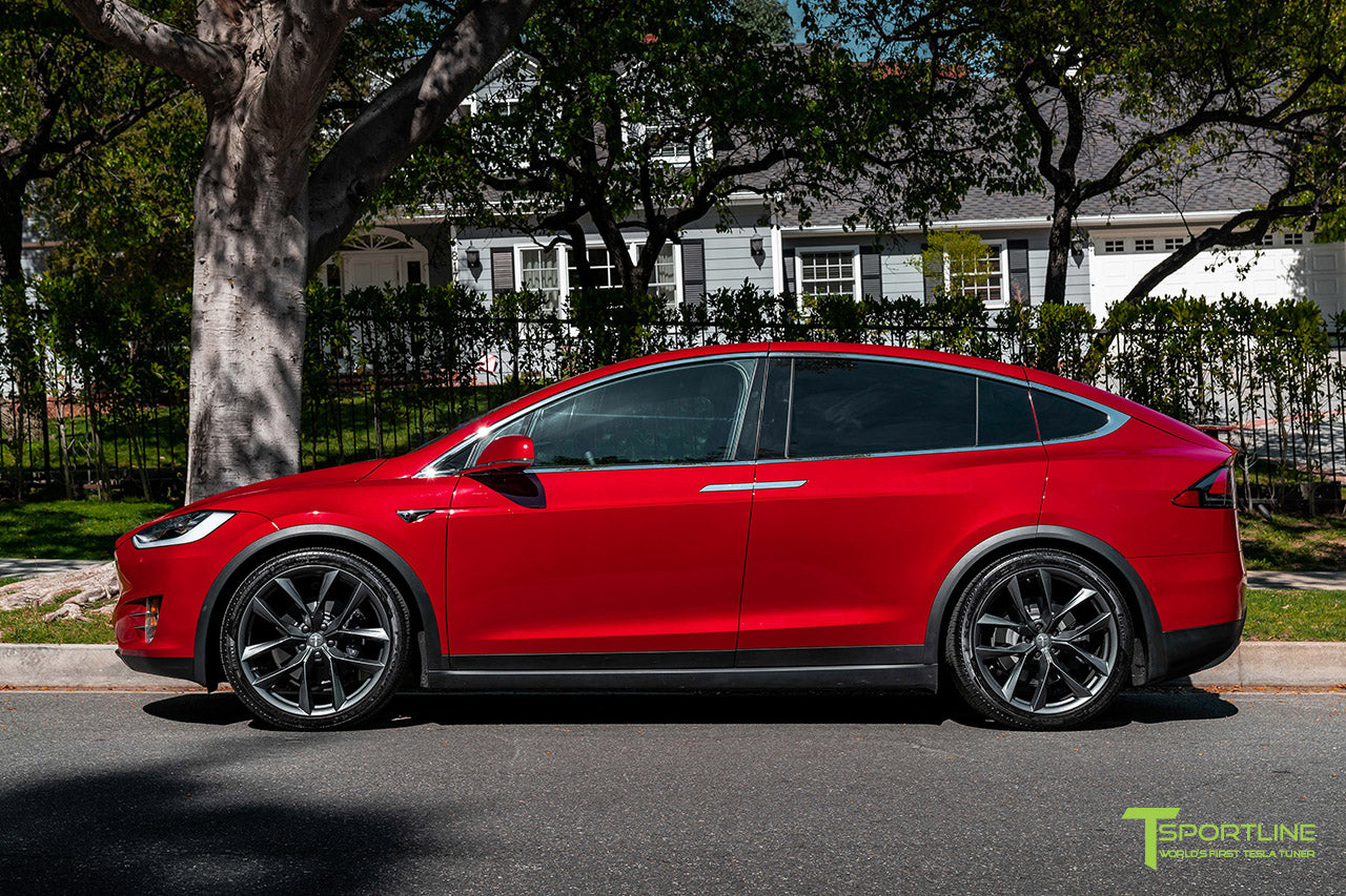 "Red Multi-Coat Tesla Model X with 22"" TSS Flow Forged Wheels in Space Gray by T Sportline"