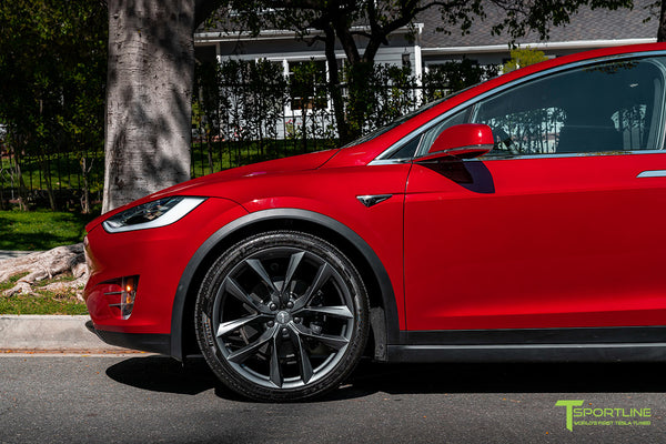 Red Multi-Coat Tesla Model X with 22
