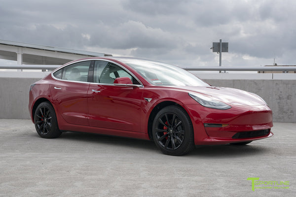Red Multi-Coat Tesla Model 3 with Gloss Black 18 inch Turbine Style Wheels TST Flow Forged by T Sportline 4