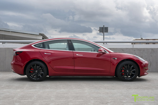 Red Multi-Coat Tesla Model 3 with Gloss Black 18 inch Turbine Style Wheels TST Flow Forged by T Sportline 3