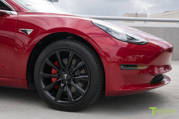 Red Multi-Coat Tesla Model 3 with Gloss Black 18 inch Turbine Style Wheels TST Flow Forged by T Sportline 1