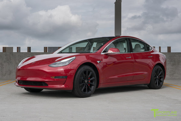 Red Multi-Coat Tesla Model 3 with Matte Black 18 inch Turbine Style Wheels TST Flow Forged by T Sportline 4