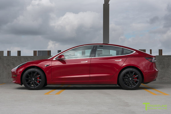 Red Multi-Coat Tesla Model 3 with Matte Black 18 inch Turbine Style Wheels TST Flow Forged by T Sportline 3