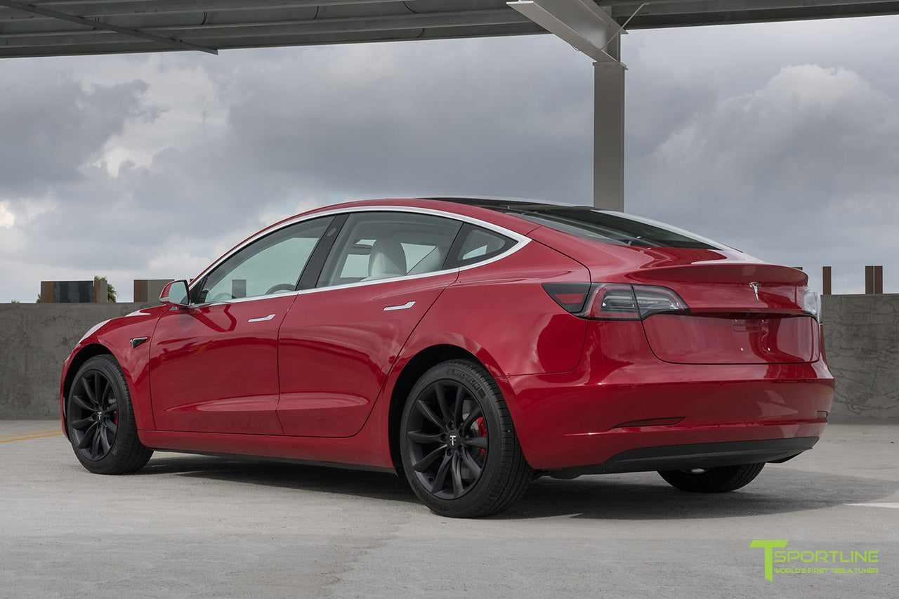 Red Multi-Coat Tesla Model 3 with Matte Black 18 inch Turbine Style Wheels TST Flow Forged by T Sportline 2