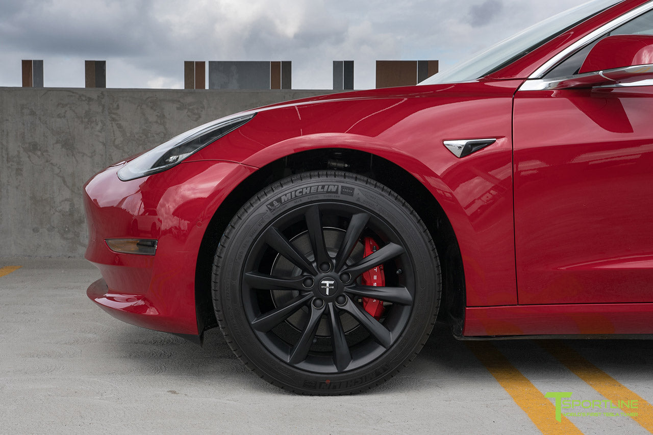 Red Multi-Coat Tesla Model 3 with Matte Black 18 inch Turbine Style Wheels TST Flow Forged by T Sportline 1
