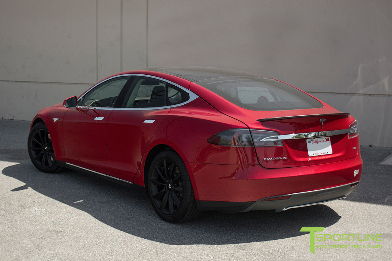 "Red Multi-Coat Model S 1.0 with 19"" TST Tesla Wheel in Matte Black"
