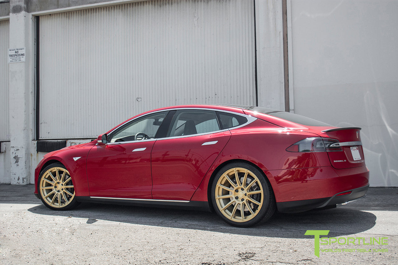 Red Multi-Coat Tesla Model S 1.0 with Ghost Gold 21 inch TS112 Forged Wheels 1