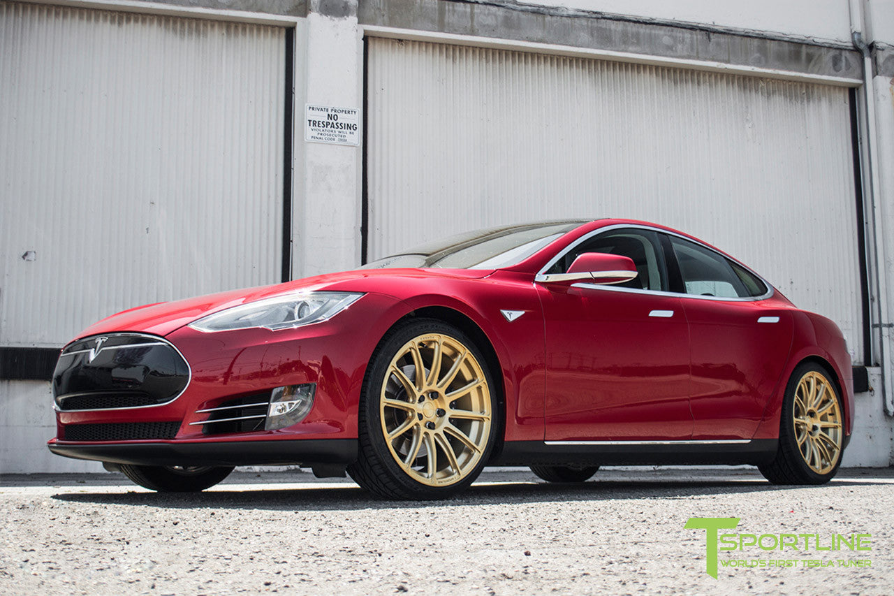 Red Multi-Coat Tesla Model S 1.0 with Ghost Gold 21 inch TS112 Forged Wheels