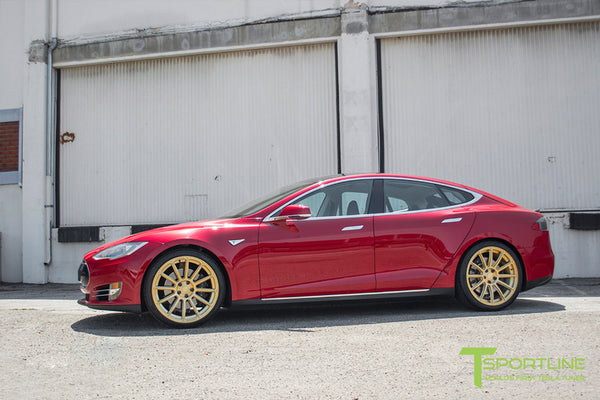 Red Multi-Coat Tesla Model S 1.0 with Ghost Gold 21 inch TS112 Forged Wheels 3