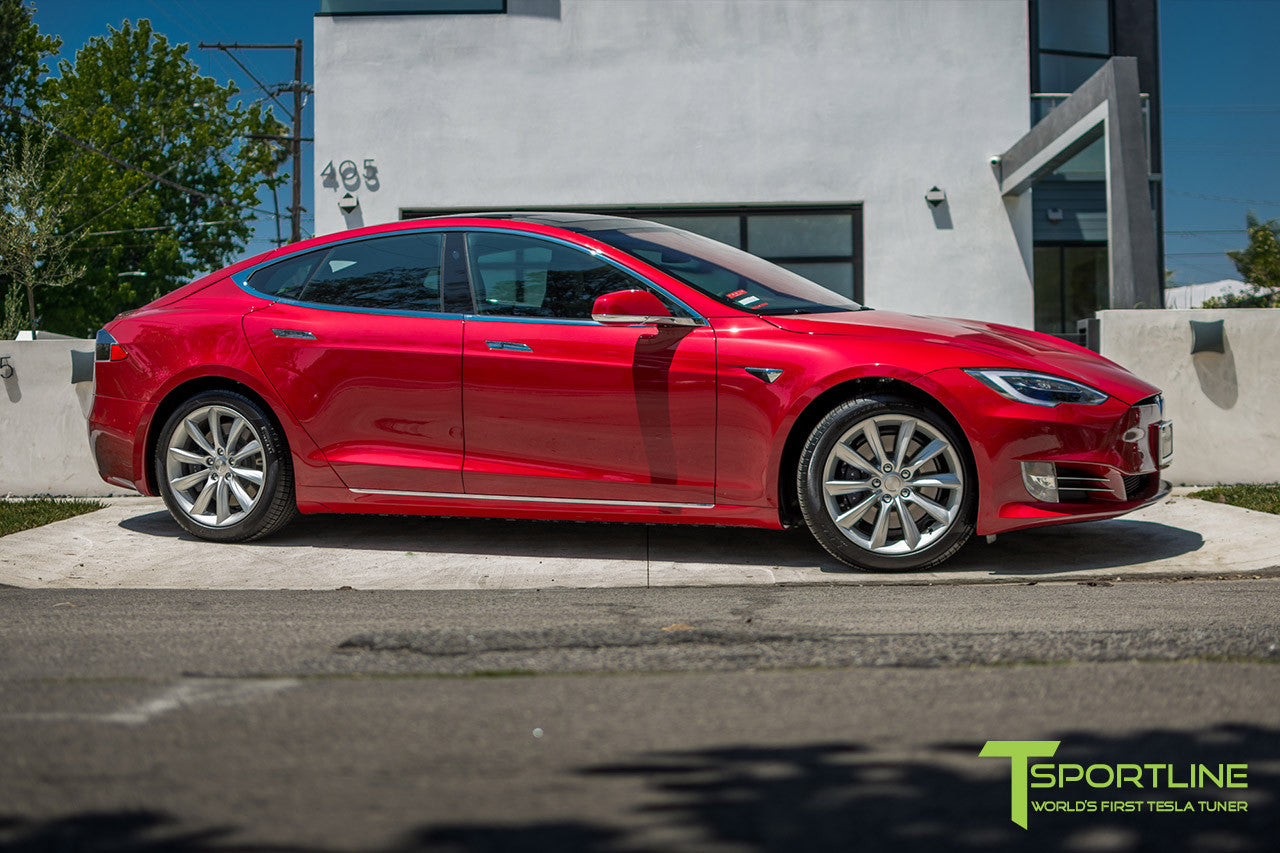 "Red Multi-Coat Model S 2.0 with 19"" TST Tesla Wheel in Brilliant Silver"