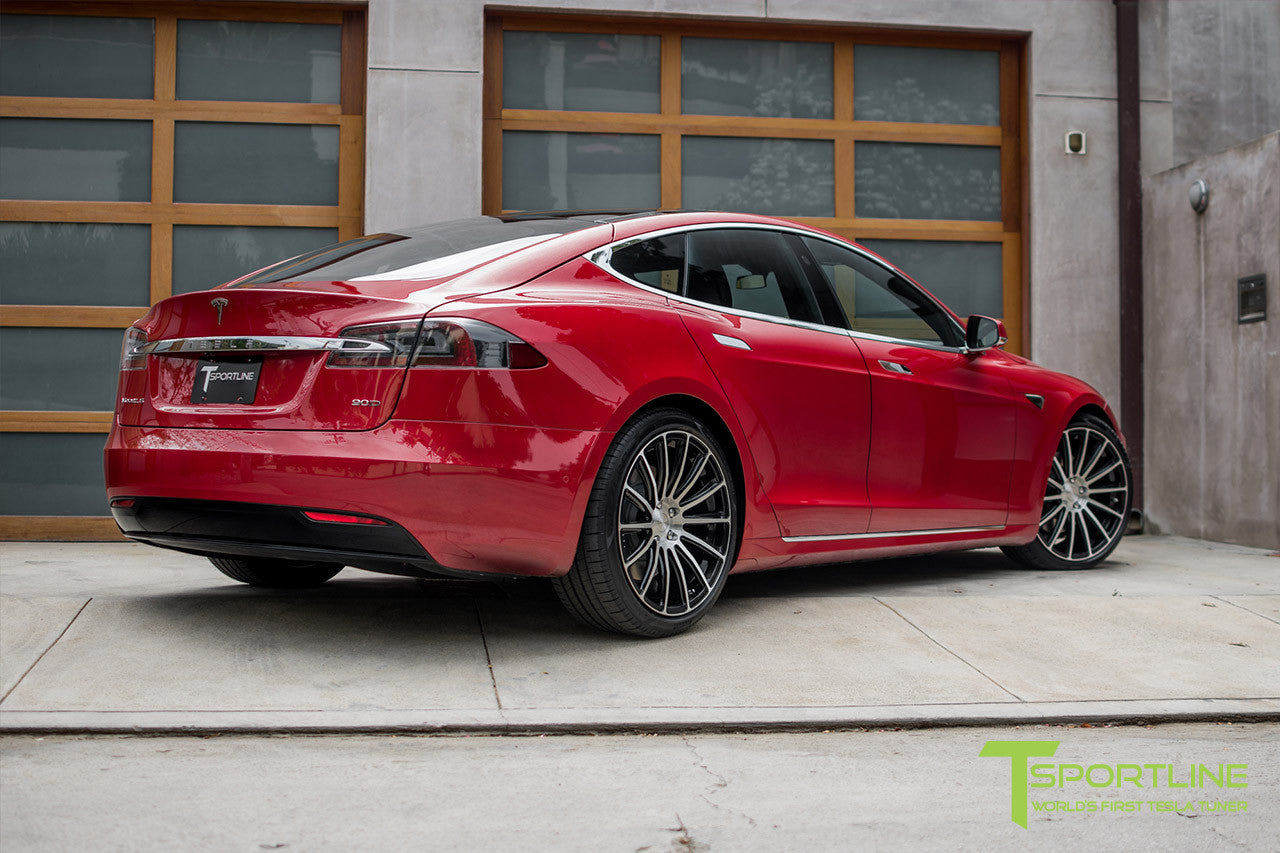 "Red Multi-Coat Tesla Model S 2.0 with 21"" TS114 Forged Wheel in Diamond Black"