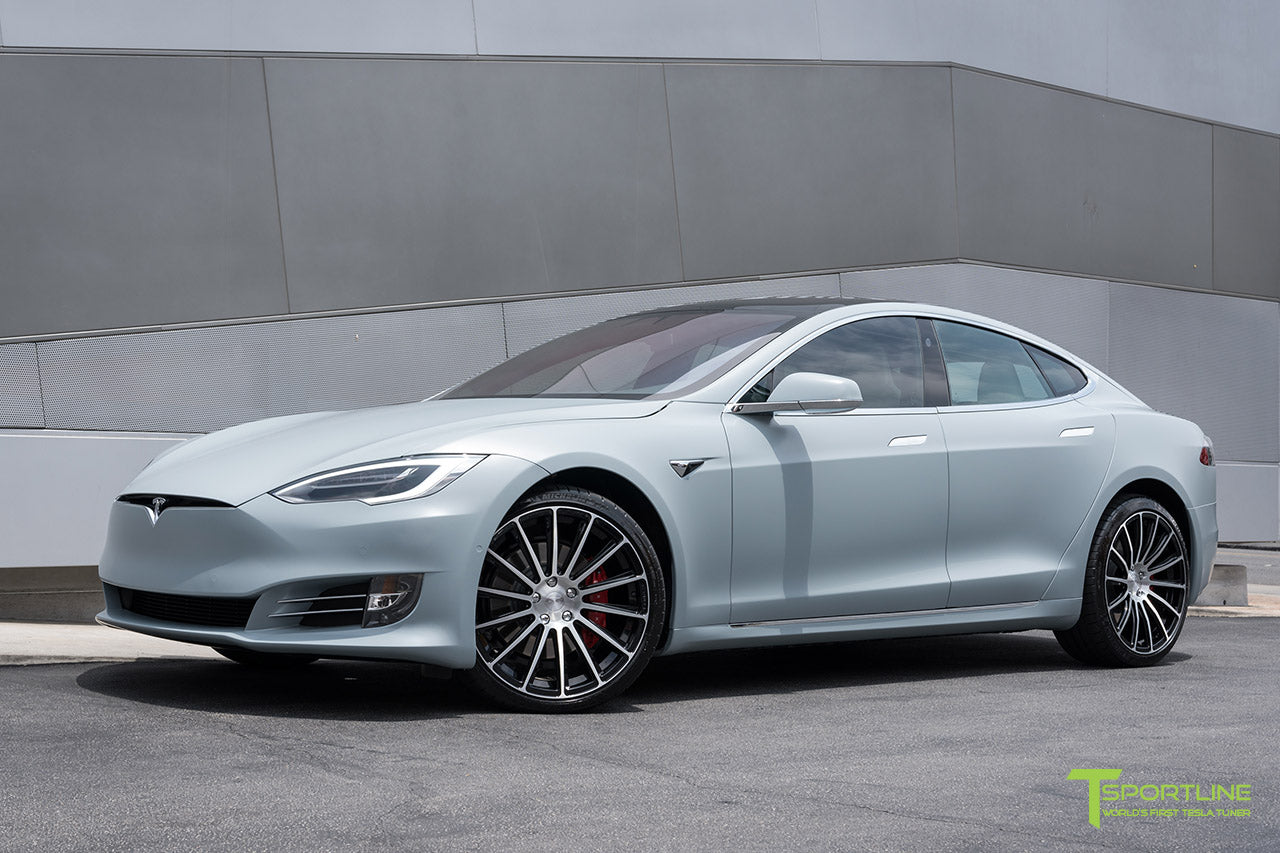 Satin Battleship Gray Tesla Model S with Diamond Black 21 inch TS114 Forged Wheels by T Sportline