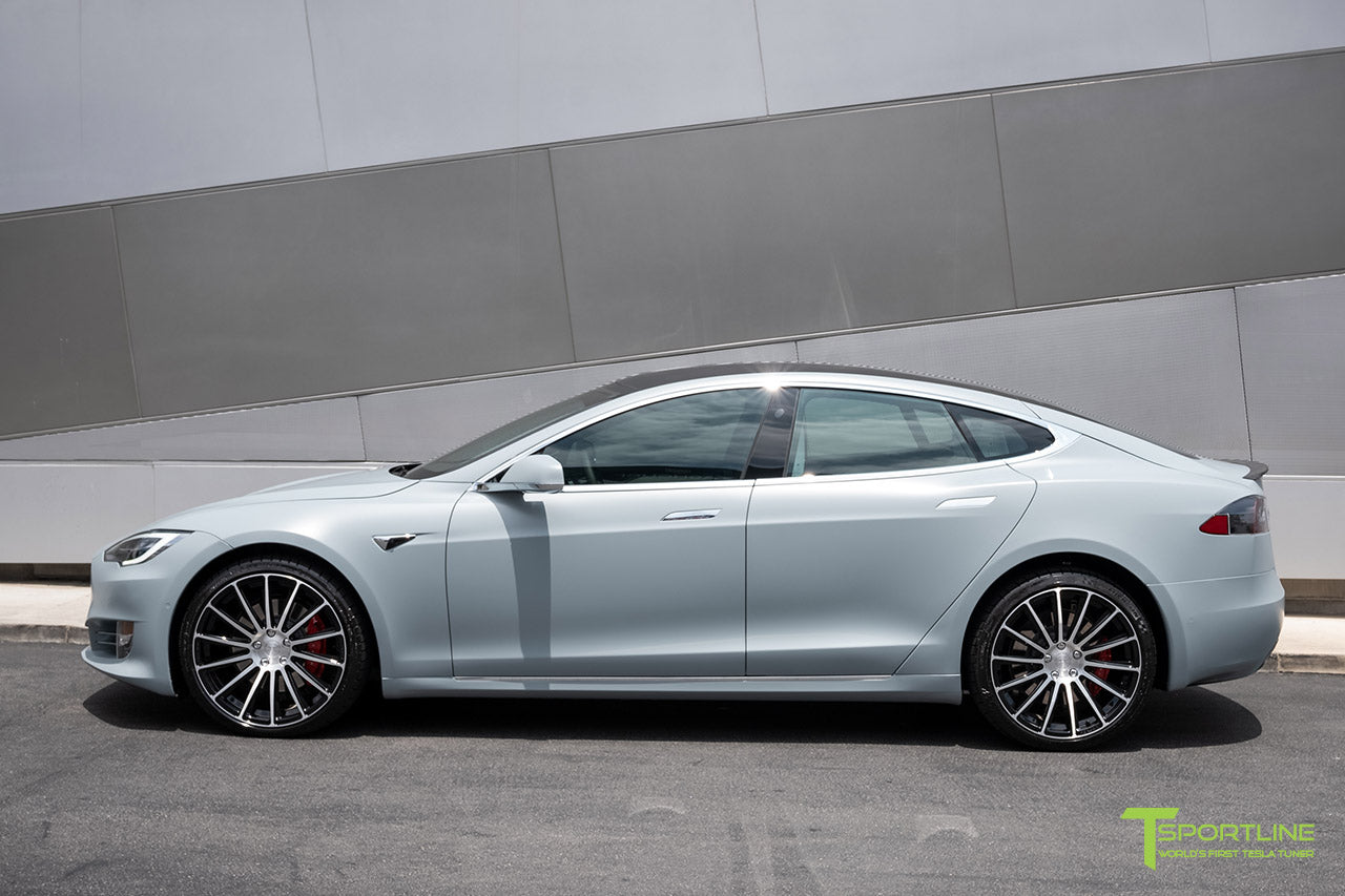 Satin Battleship Gray Tesla Model S with Diamond Black 21 inch TS114 Forged Wheels by T Sportline 3
