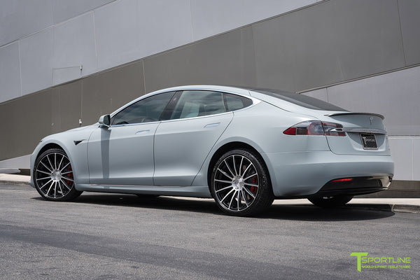 Satin Battleship Gray Tesla Model S with Diamond Black 21 inch TS114 Forged Wheels by T Sportline 2