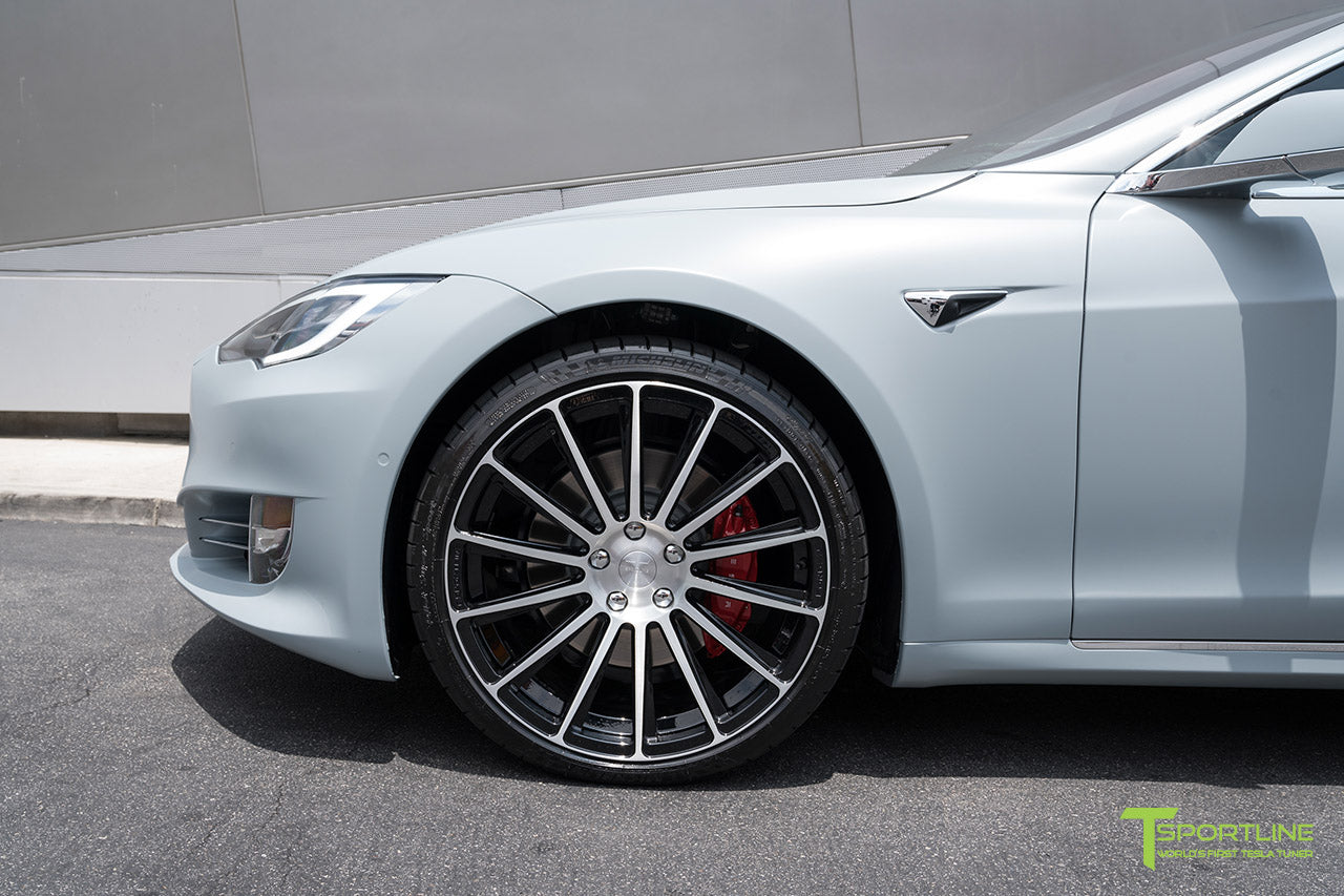 Satin Battleship Gray Tesla Model S with Diamond Black 21 inch TS114 Forged Wheels by T Sportline 1