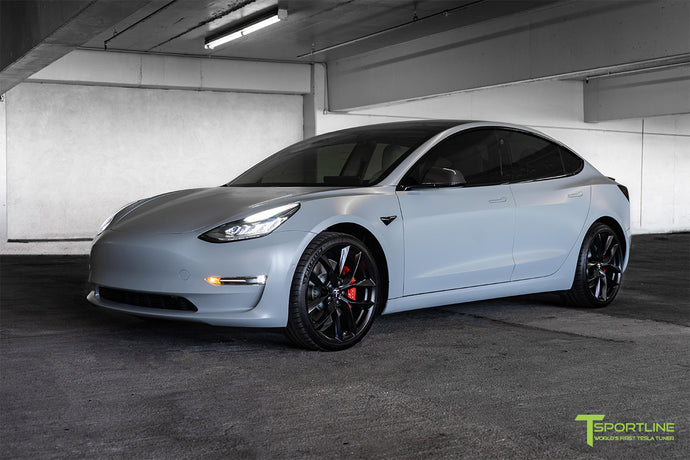 "Satin Battleship Gray Performance Model 3 with 20"" TSS"