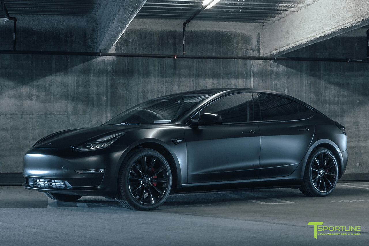 Satin Matte Black Tesla Model 3 with 19 inch TST Turbine Wheels, Window Tint, and Chrome Delete
