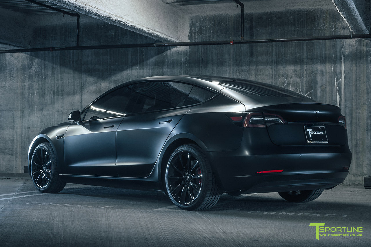 Satin Matte Black Tesla Model 3 with Gloss Black 19 inch TST, Black Out Chrome Delete, Wrap, Window Tint by T Sportline