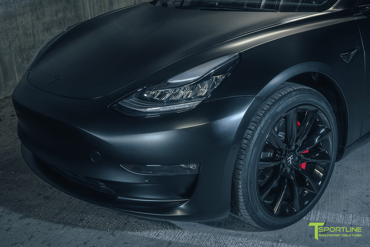 Satin Matte Black Tesla Model 3 with Gloss Black 19 inch TST, Black Out Chrome Delete, Wrap, Window Tint by T Sportline 1