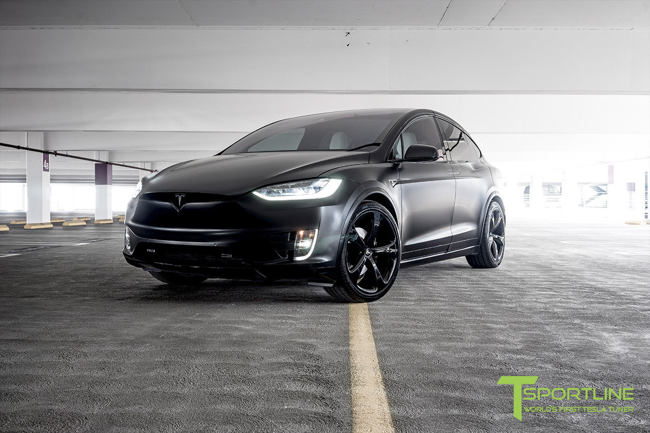 Satin Black Tesla Model X with Gloss Black 22 inch MX5 Forged Wheels