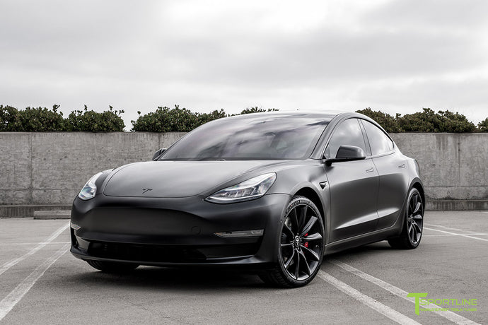 "All Satin Black Performance Model 3 with 20"" TST"