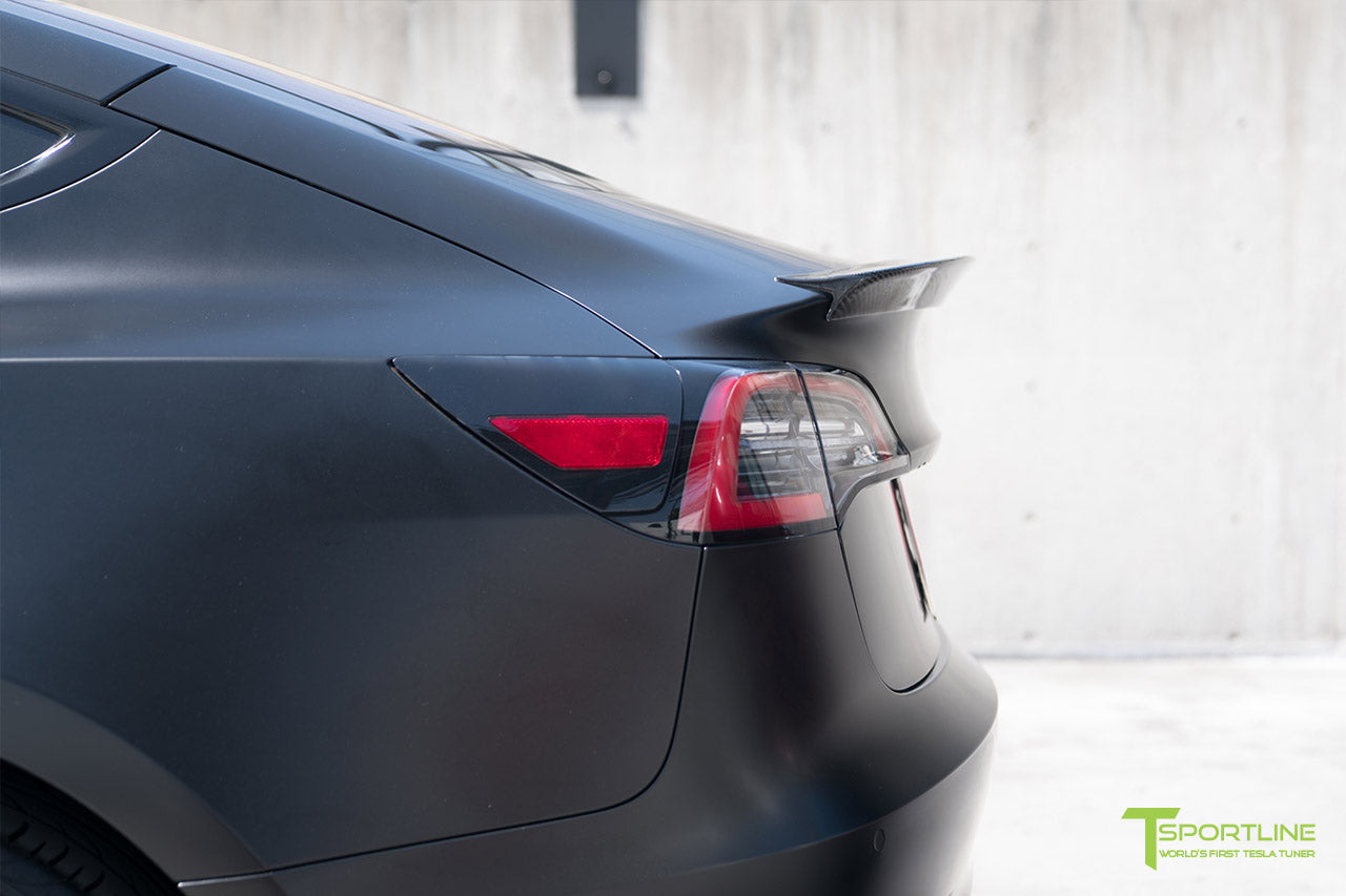 Satin Black Tesla Model 3 with Gloss Carbon Fiber Trunk Wing Spoiler by T Sportline 5